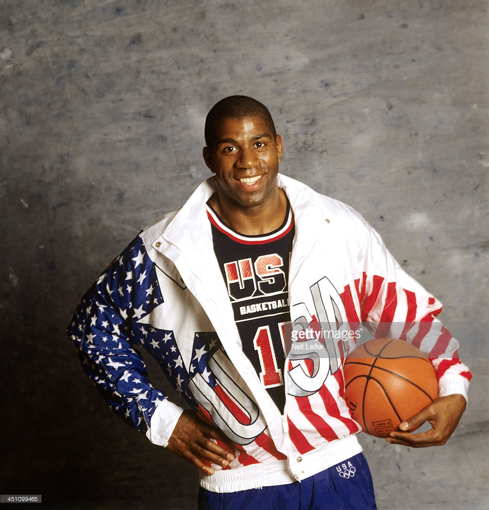 Basketball: Summer Games Preview: Portrait of USA Magic Johnson posing during photo shoot. Dream Team. San Diego, CA 6/23/1992 CREDIT: Neil Leifer (Photo by Neil Leifer /Sports Illustrated/Getty Images) (Set Number: D136860 )